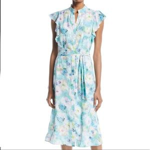 Lovely High-Neck Ruffle-Sleeve Belted Floral Dress